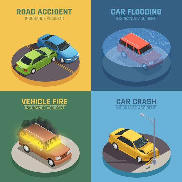 Le icone isometriche di concetto 4 dell'assicurazione auto quadrano per danno di incidente stradale e danno di fuoco dell'automobile isolati Vettore gratuito