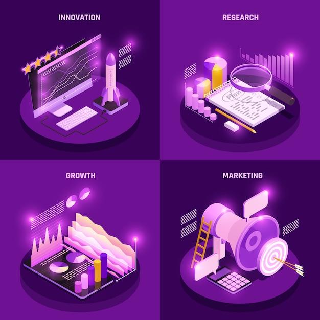 Le icone isometriche di concetto di strategia aziendale messe con l'illustrazione isolata simboli di vendita e di ricerca Vettore gratuito
