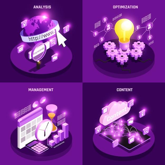 Le icone isometriche di concetto di traffico web messe con l'ottimizzazione e la gestione hanno isolato l'illustrazione Vettore gratuito