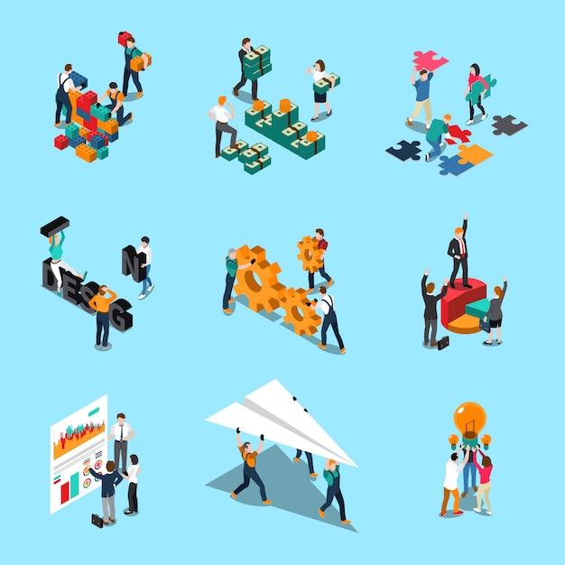 Le icone isometriche di lavoro di squadra messe con le idee di collaborazione e i simboli di creatività hanno isolato l'illustrazione Vettore gratuito