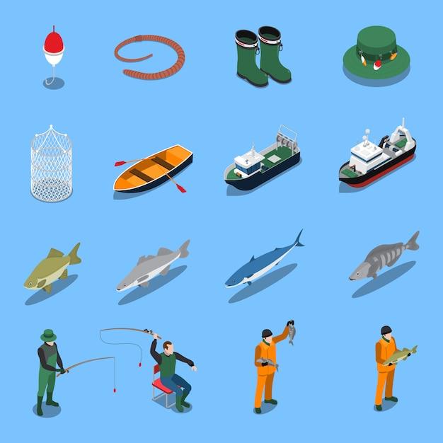 Le icone isometriche di pesca messe con le barche e le attrezzature hanno isolato l'illustrazione Vettore gratuito