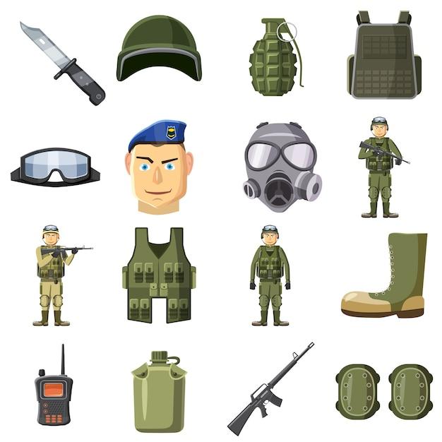 Le icone militari dell'arma hanno messo, stile del fumetto Vettore Premium