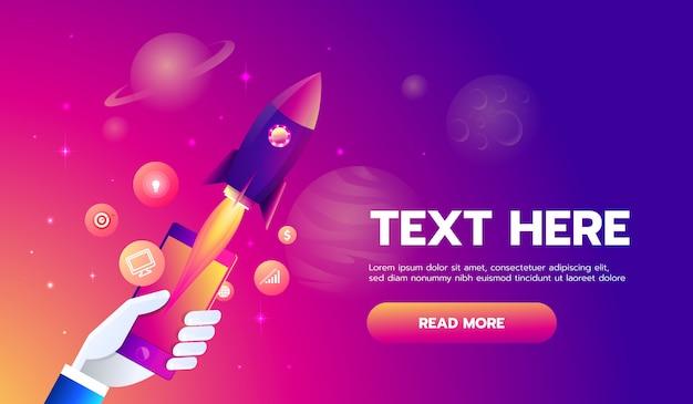 Le icone mobili app razzo sullo sfondo dello spazio. Vettore Premium
