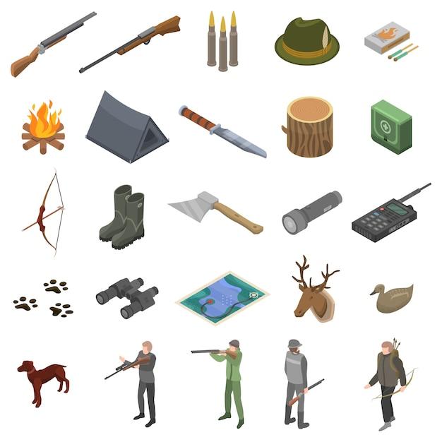 Le icone moderne dell'attrezzatura di caccia hanno messo, stile isometrico Vettore Premium