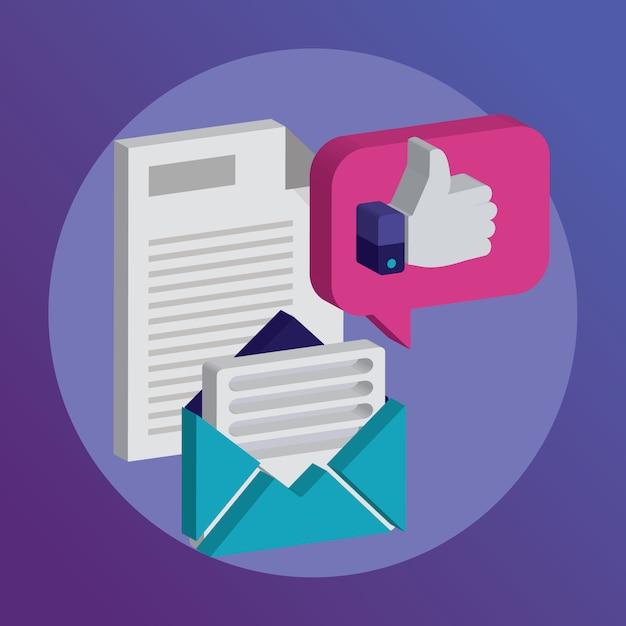 Le icone per il supporto della newsletter del faq contattano l'illustrazione di vettore. Vettore Premium