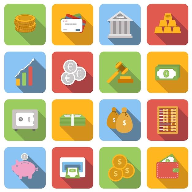 Le icone piane dei soldi hanno messo le immagini con ombra lunga nel quadrato Vettore Premium