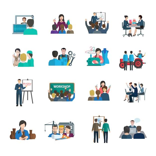 Le icone piane del workshop hanno messo con organizzazione di lavoro di squadra di presentazione del dirigente aziendale Vettore gratuito