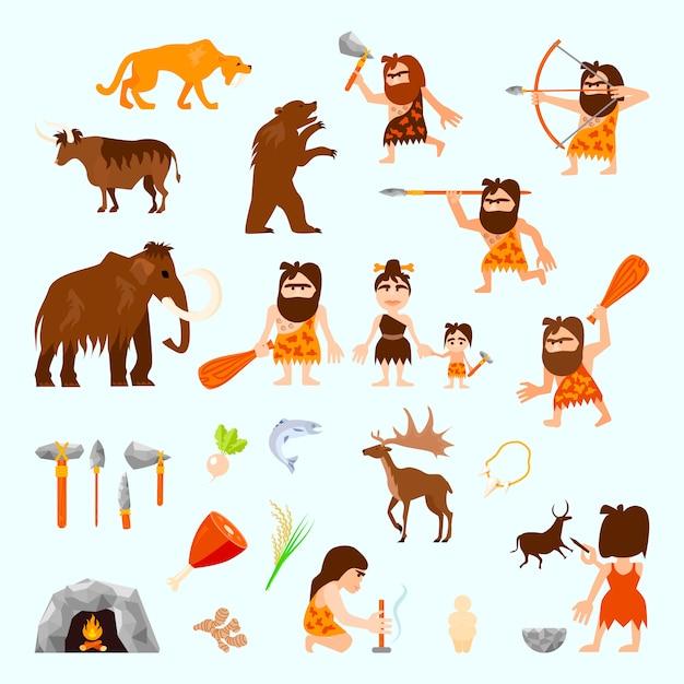 Le icone piane dell'età della pietra hanno messo con gli strumenti degli animali del cavernicolo Vettore gratuito