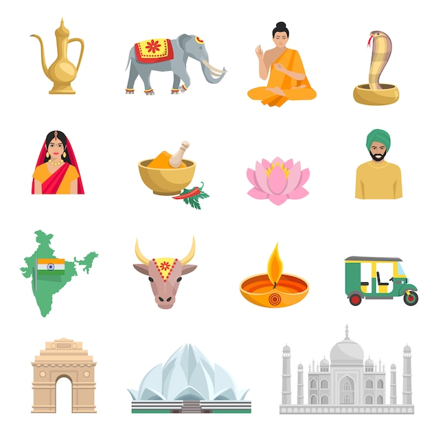 Le icone piane dell'india hanno messo con i simboli di cultura e dell'illustrazione di vettore isolata religione Vettore gratuito