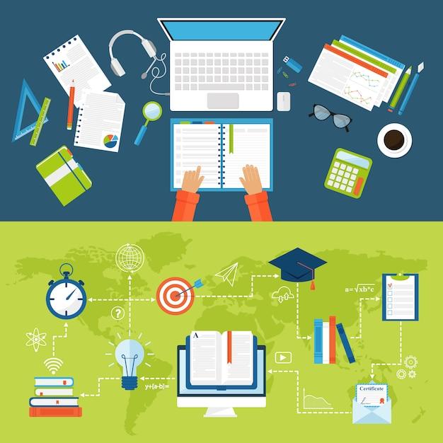 Le icone piane di istruzione online vector l'insieme dei simboli di scuola e di webinar di distanza. Vettore Premium