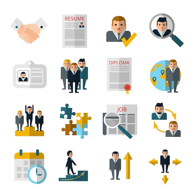 Le icone piane di strategia di assunzione del personale delle risorse umane hanno messo con il riassunto e il diploma Vettore gratuito