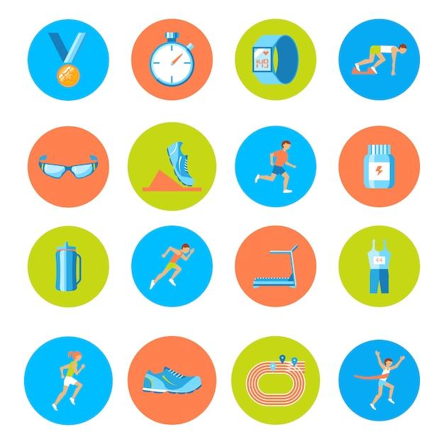 Le icone rotonde dei bottoni di attività di sport della corsa corrente messe hanno isolato Vettore Premium