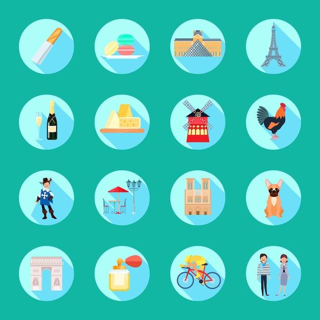 Le icone rotonde della francia hanno messo con l'illustrazione di vettore isolata piano di simboli turistici di vettore Vettore gratuito