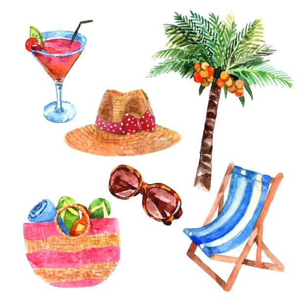 Le icone tropicali dell'acquerello di viaggio di vacanza dell'isola hanno messo con il cappellino da sole della paglia e del cocco Vettore gratuito