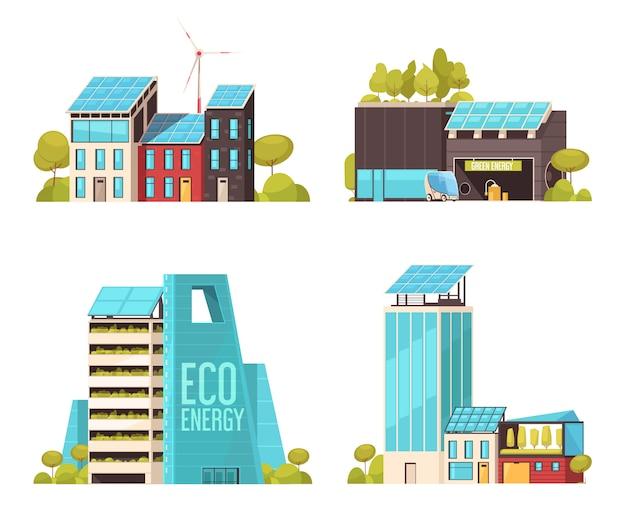 Le infrastrutture piane di tecnologia della città astuta servono il concetto 4 composizioni piane con energia di eco facendo uso delle strutture isolate Vettore gratuito