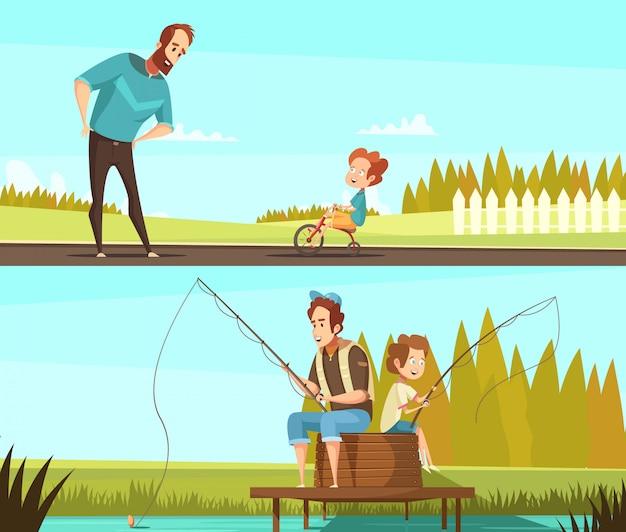 Le insegne all'aperto di attività del retro fumetto di paternità 2 con pesca insieme e il ragazzino che ciclano hanno isolato l'illustrazione di vettore Vettore gratuito