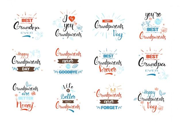 Le insegne felici della cartolina d'auguri del giorno dei nonni hanno messo il testo sopra fondo bianco Vettore Premium
