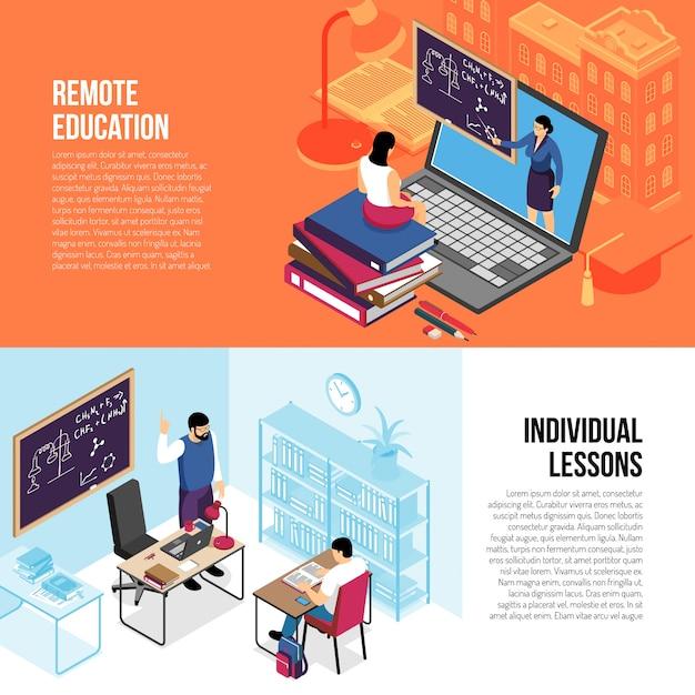 Le insegne isometriche orizzontali di istruzione con le singole lezioni private e i corsi universitari online dell'istituto universitario hanno isolato l'illustrazione di vettore Vettore gratuito