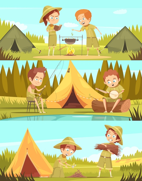 Le insegne orizzontali del fumetto di attività 3 del campo estivo dei ragazzi d'esplorazione 3 hanno messo con il fuoco di accampamento che cucina l'illustrazione di vettore isolata Vettore gratuito