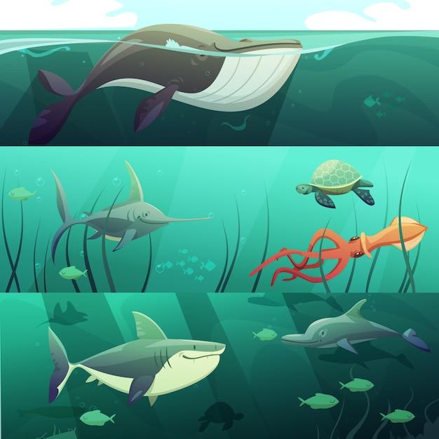 Le insegne orizzontali del retro fumetto di vita marina subacquea messe con le tartarughe giganti del delfino del pesce dello squalo è Vettore gratuito