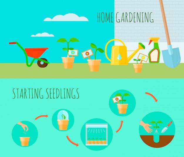 Le insegne orizzontali della piantina hanno messo con l'illustrazione di vettore isolata piano di simboli di giardinaggio domestico Vettore gratuito