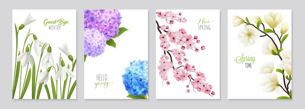 Le insegne realistiche del fiore di bucaneve hanno messo caratterizzando quattro ambiti di provenienza floreali con le immagini realistiche dell'illustrazione del testo e di flowerage Vettore gratuito