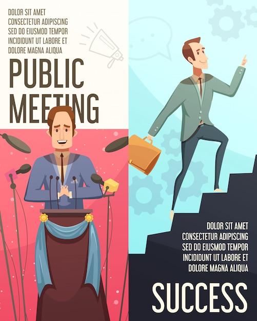 Le insegne verticali di businessmeeting hanno messo con l'illustrazione di vettore isolata fumetto di simboli di riunione pubblica Vettore gratuito