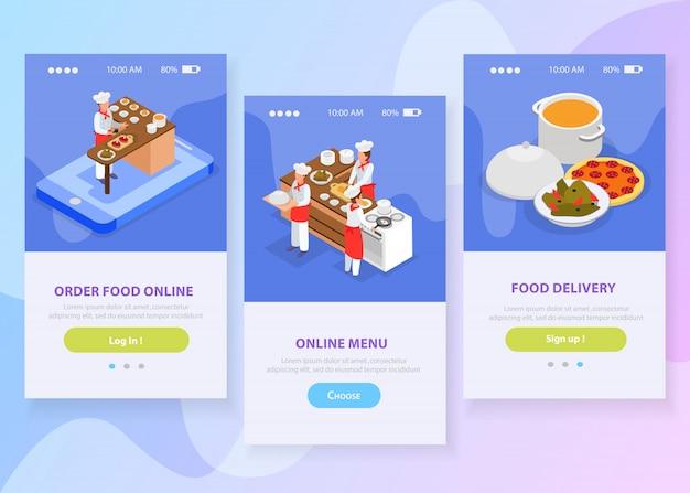 Le insegne verticali isometriche della consegna online dell'alimento messe con i cuochi unici che cucinano i piatti italiani 3d hanno isolato l'illustrazione di vettore Vettore gratuito