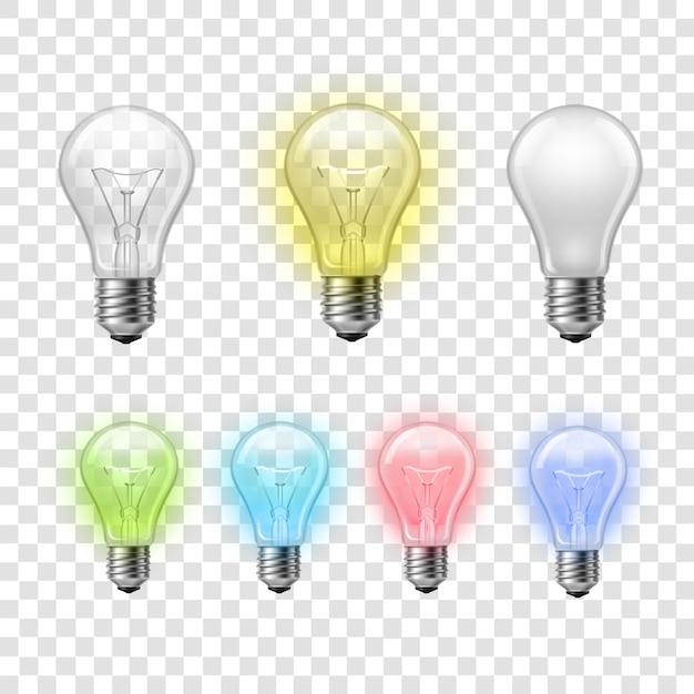 Le lampadine trasparenti dell'arcobaleno hanno messo il fondo Vettore gratuito