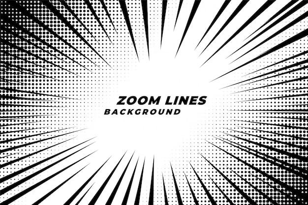 Le linee di zoom comiche muovono lo sfondo con effetto mezzetinte Vettore gratuito