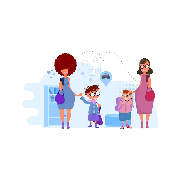 Le mamme conducono i bambini all'illustrazione di concetto della scuola sull'interno. metafora - ritorno a scuola Vettore Premium