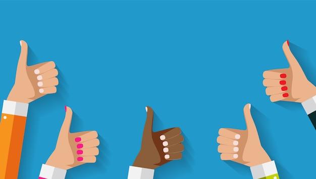 Le mani con i pollici aumentano il gesto e il copyspace. concetto di social media Vettore Premium