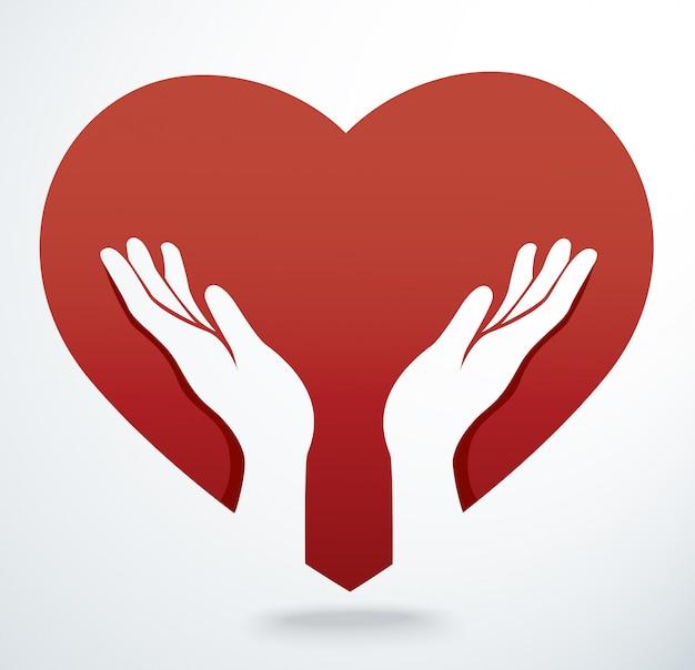 Le mani pregano in un vettore di forma del cuore Vettore Premium