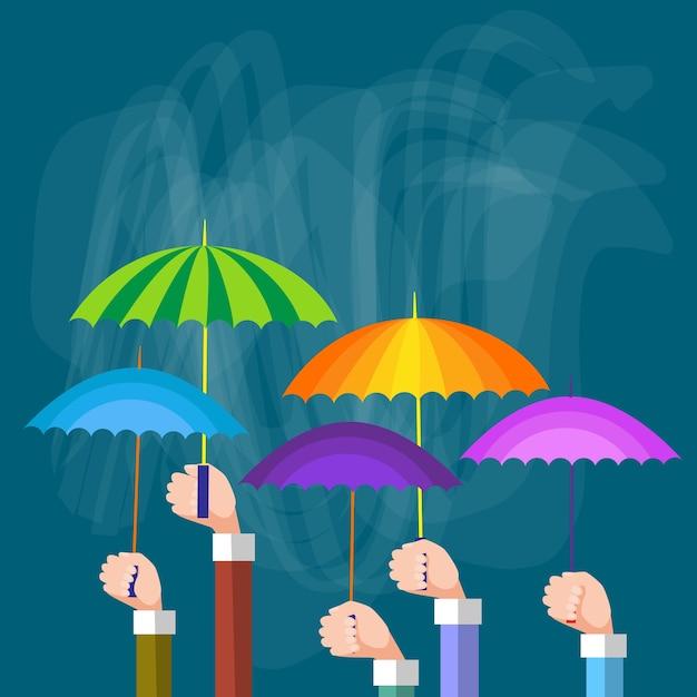 Le mani raggruppano gli ombrelli variopinti della tenuta, concetto di sostegno Vettore Premium