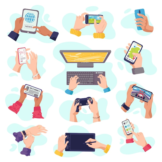 Le mani tengono gadget, telefoni cellulari, dispositivi elettronici digitali, serie di illustrazioni. dispositivi informatici in mano uomo, laptop, tablet, smartphone o tastiera. mani di gadget. Vettore Premium