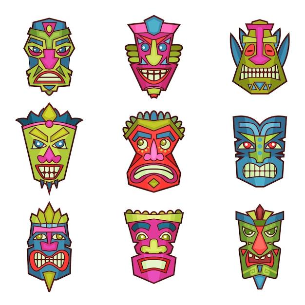 Le maschere indiane o africane tribali hanno messo, illustrazione di legno del taglio del taglio variopinto su un fondo bianco Vettore Premium