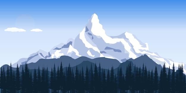 Le montagne invernali pianeggianti abbelliscono con le colline Vettore Premium