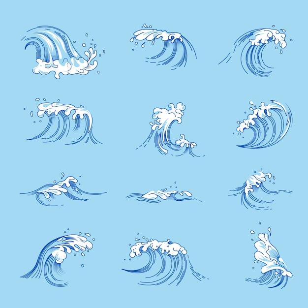 Le onde e l'oceano o l'acqua di mare spruzza le icone di schizzo di vettore messe Vettore Premium