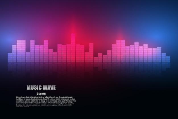 Le onde sonore oscillano la luce bagliore Vettore Premium