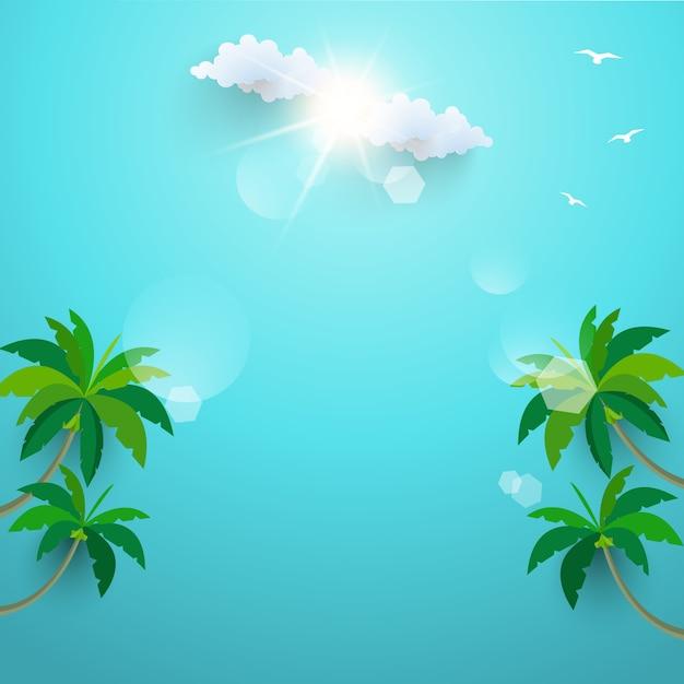 Le palme da cocco sulla spiaggia. vacanze estive. modello Vettore Premium