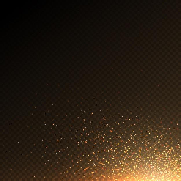Le particelle brucianti del fuoco, carbone scintilla l'effetto astratto di vettore isolato. particelle della luce del fuoco, illustrazione ardente bruciante luminosa Vettore Premium