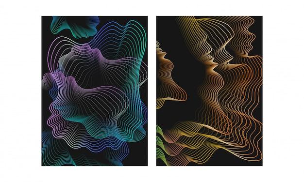 Le particelle di moto dell'onda fluente digitale di stile differente sottraggono il fondo Vettore Premium