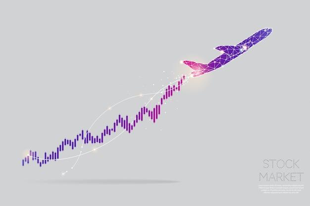Le particelle, l'arte geometrica, la linea e il punto del concetto di grafico azionario. Vettore Premium