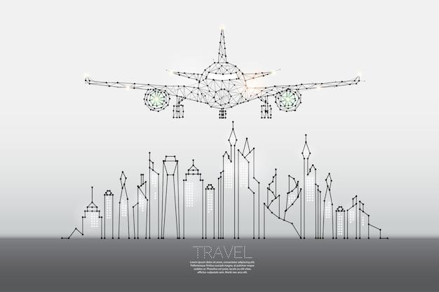 Le particelle, l'arte geometrica, la linea e il punto della città con l'aereo Vettore Premium