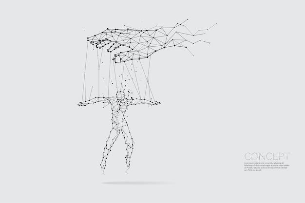Le particelle, l'arte geometrica, la linea e il punto della mano che controllano l'uomo. Vettore Premium