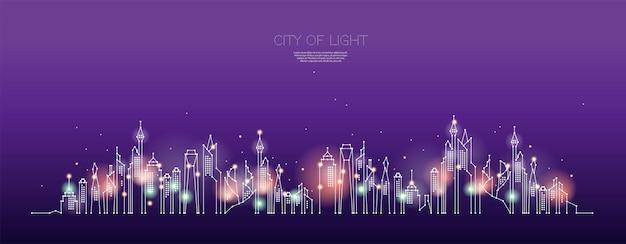 Le particelle, l'arte geometrica, la linea e il punto della notte della città. Vettore Premium
