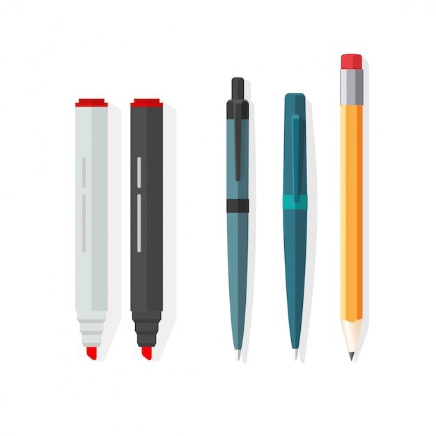 Le penne, le matite e gli indicatori vector l'illustrazione nella progettazione piana del fumetto Vettore Premium