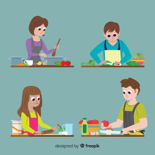 Le persone alla collezione di cucina Vettore gratuito