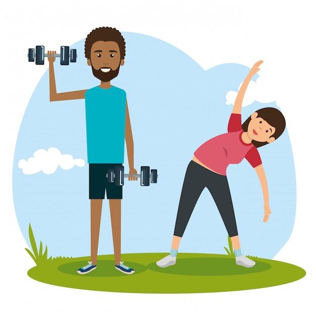 Le persone atletiche che praticano esercizi fisici Vettore gratuito