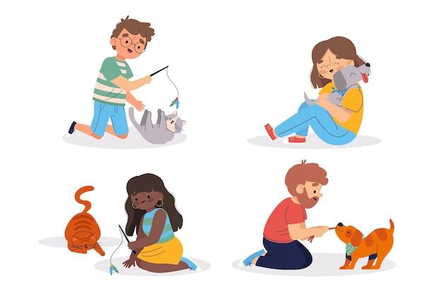 Le persone che giocano con i loro animali domestici Vettore gratuito